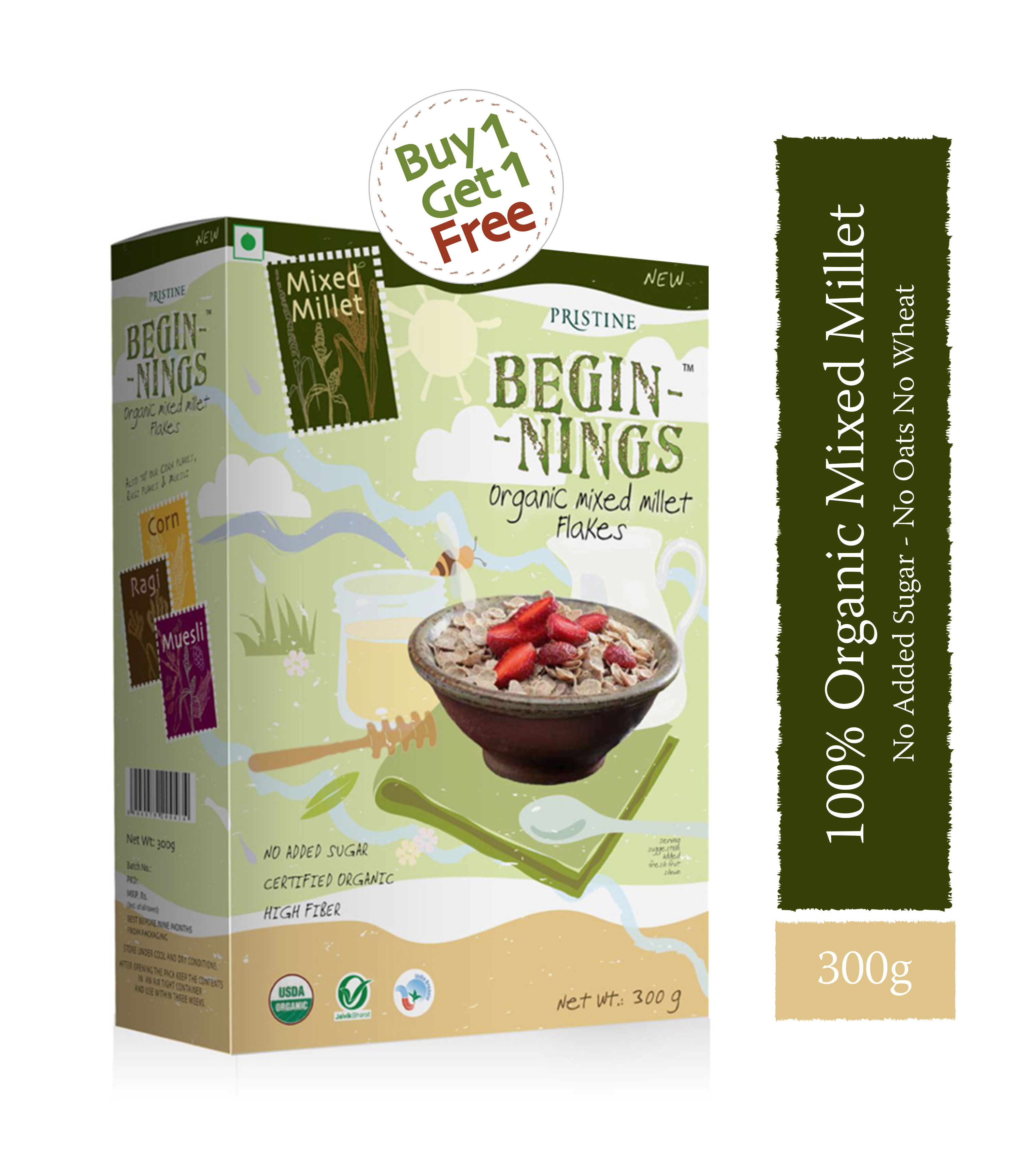 Buy Organic Mixed Millet Flakes, Beginnings,Healthy Breakfast,Pristine
