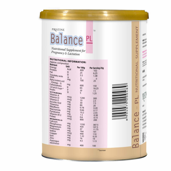 BALANCE PL VANILLA : NUTRITIONAL SUPPLEMENT FOR PREGNANCY & LACTATION
