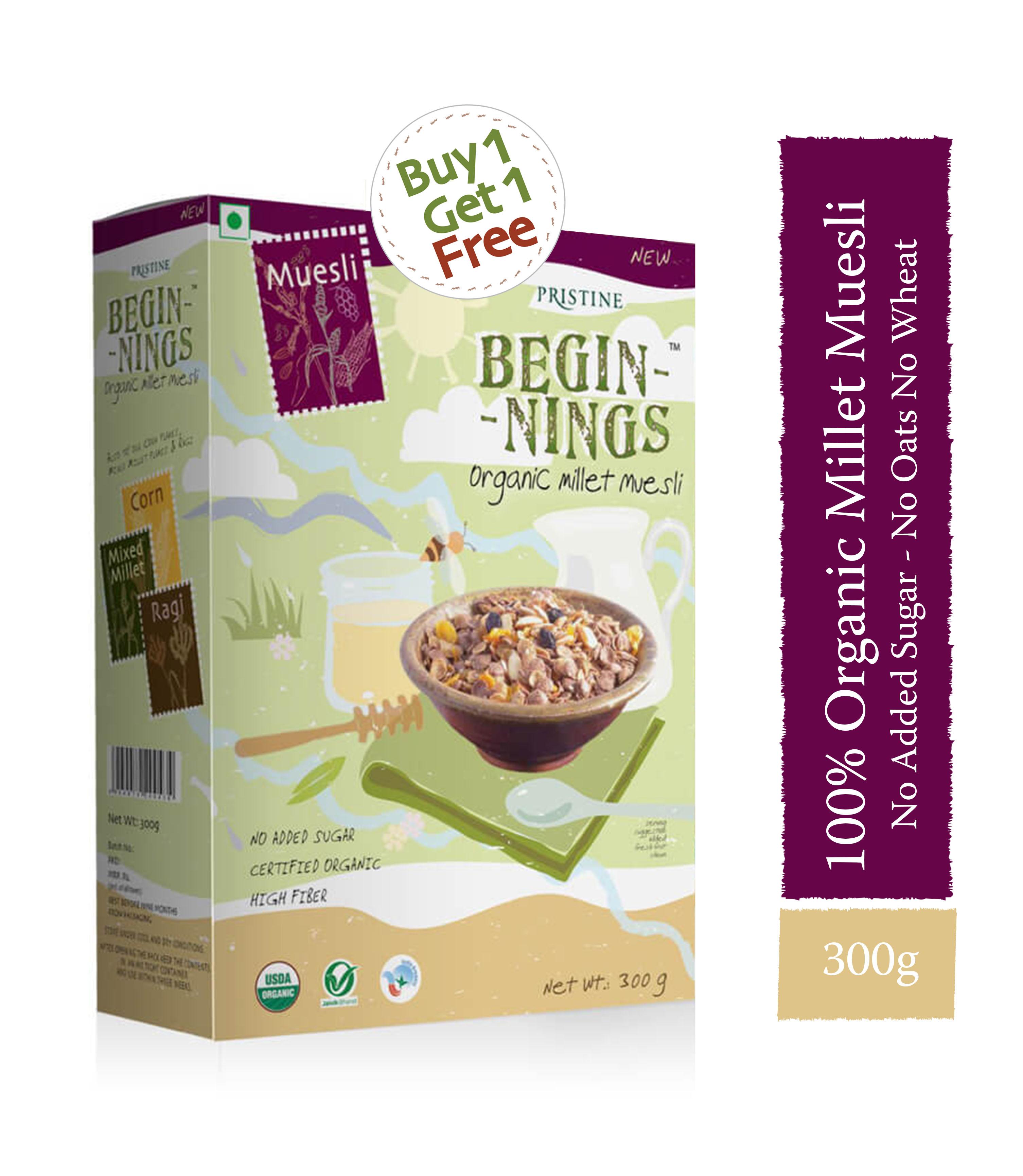 Organic Millet Muesli 300g, Healthy Breakfast- Pristine Organics