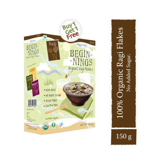 Organic Ragi Flakes - Organic finger millet flakes- Pristine Organics