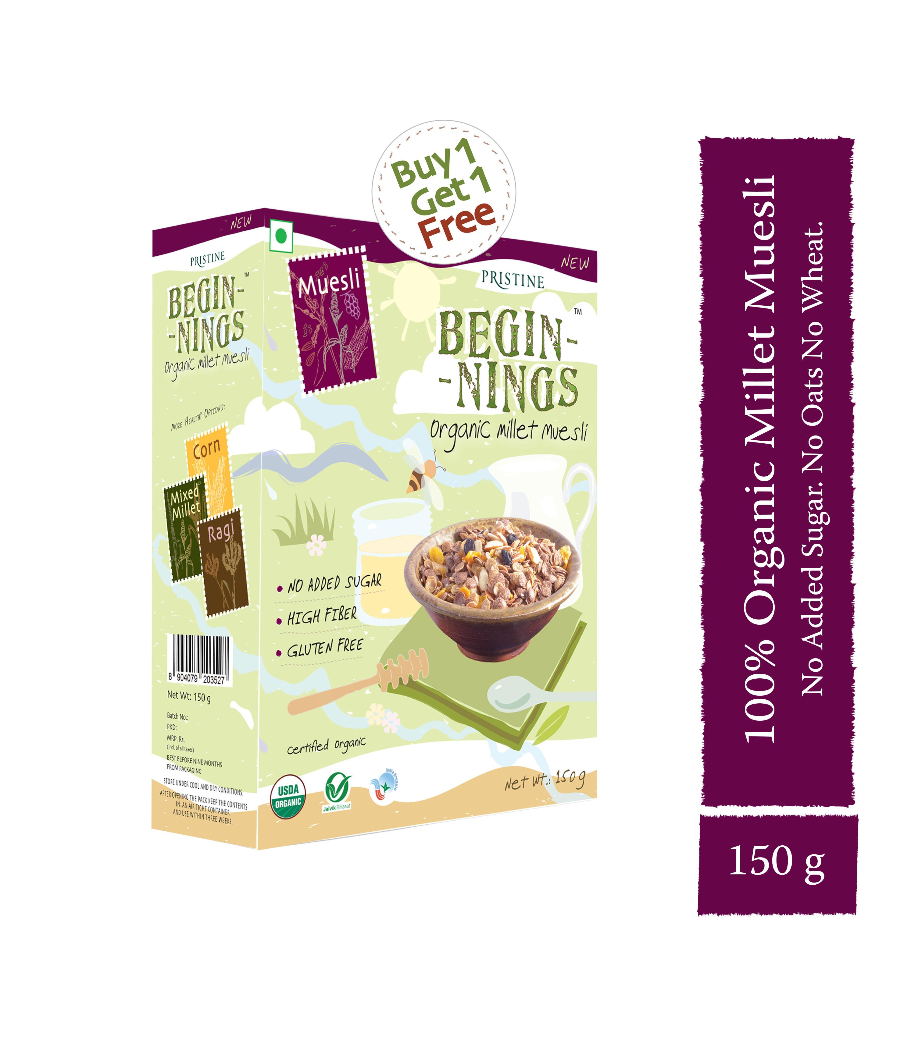 millet muesli - organic breakfast cereals - Pristine Organics