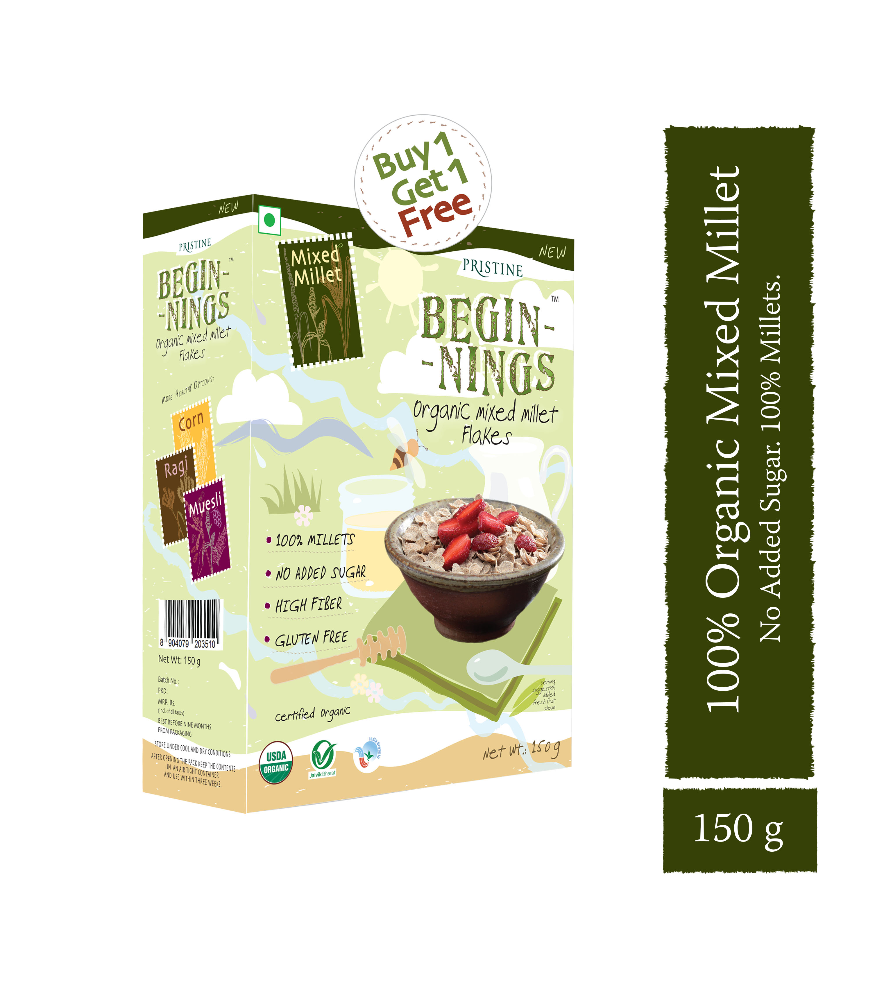 Organic Mixed Millet Flakes,150g - No Added Sugar Breakfast Cereals - Pristine Organics