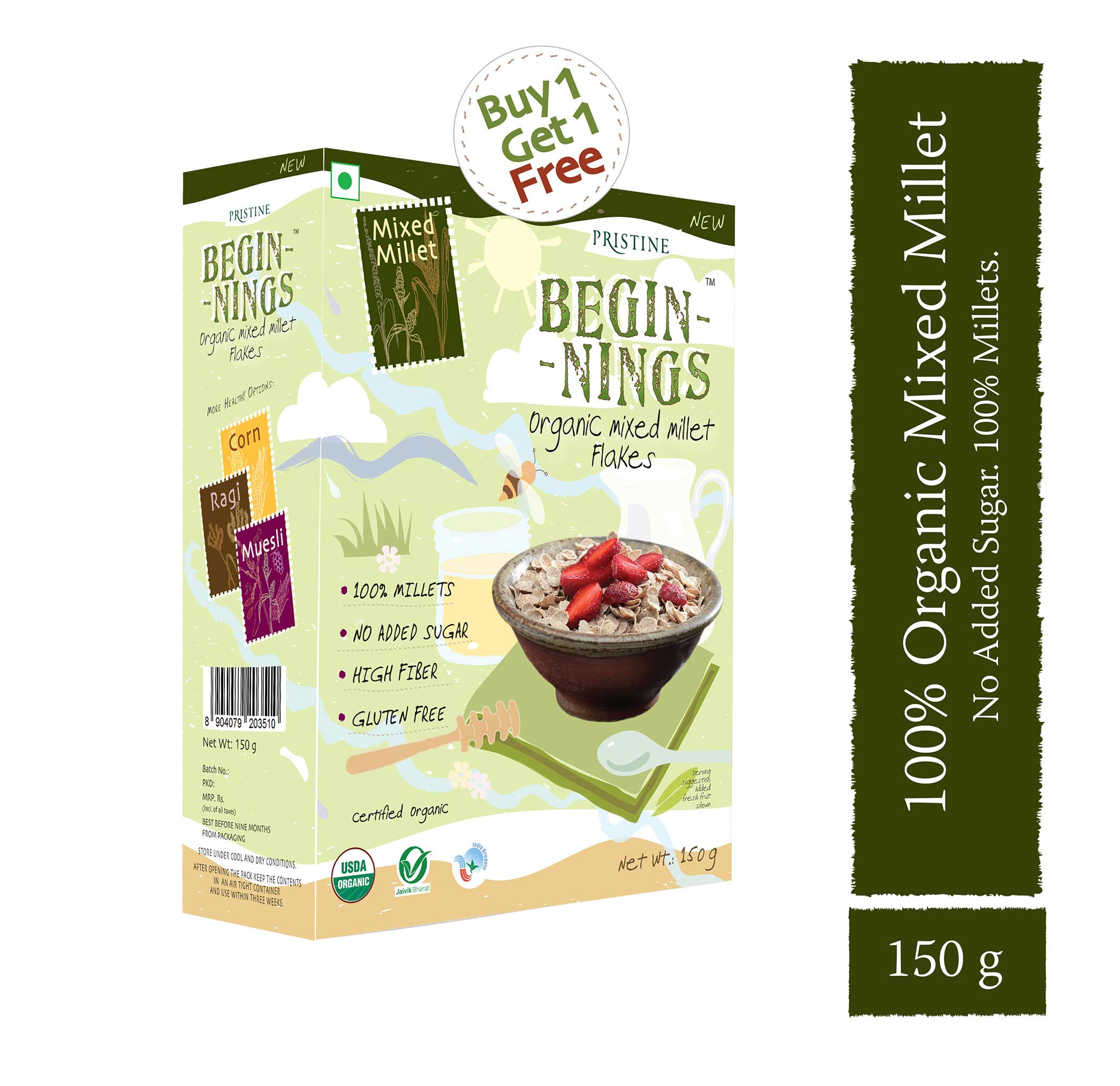 organic mixed millet flakes - pristine organics - bogo offer